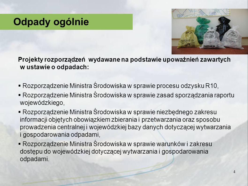 Odpady ogólnie Projekty rozporządzeń wydawane na podstawie upoważnień zawartych w ustawie o odpadach: