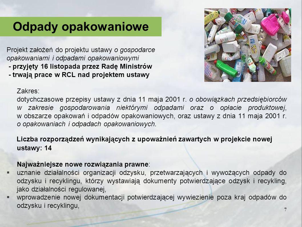 Odpady opakowaniowe Projekt założeń do projektu ustawy o gospodarce. opakowaniami i odpadami opakowaniowymi.