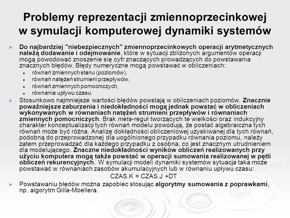 Problemy reprezentacji zmiennoprzecinkowej w symulacji komputerowej dynamiki systemów
