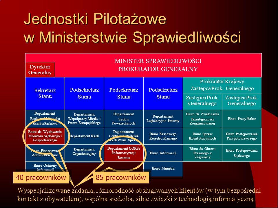 Jednostki Pilotażowe w Ministerstwie Sprawiedliwości