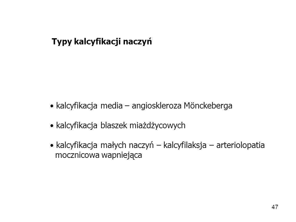 Typy kalcyfikacji naczyń