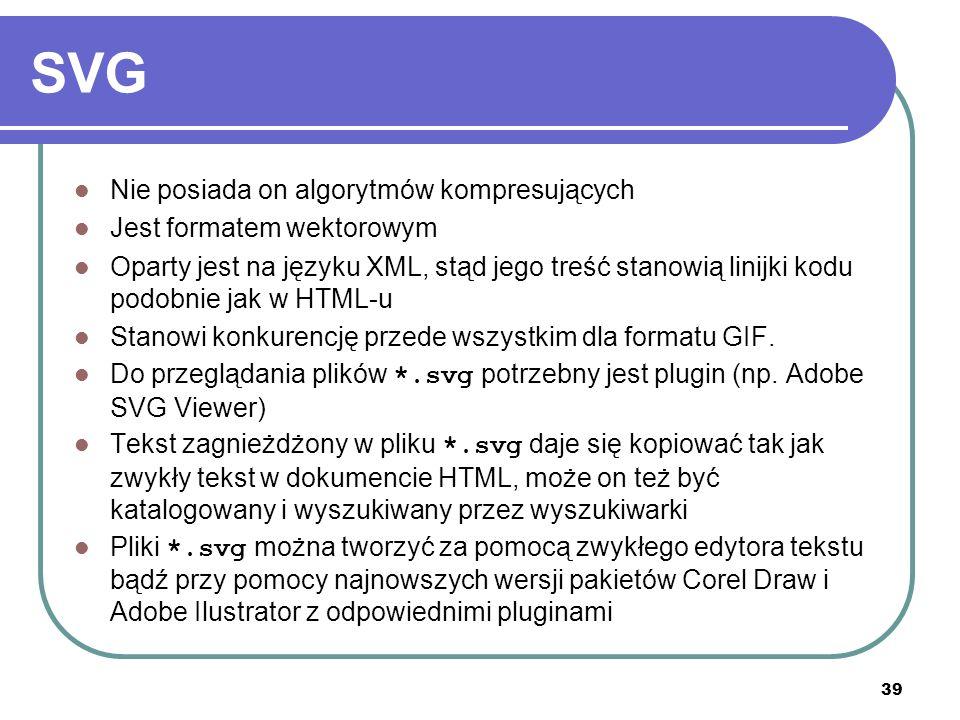 SVG Nie posiada on algorytmów kompresujących Jest formatem wektorowym