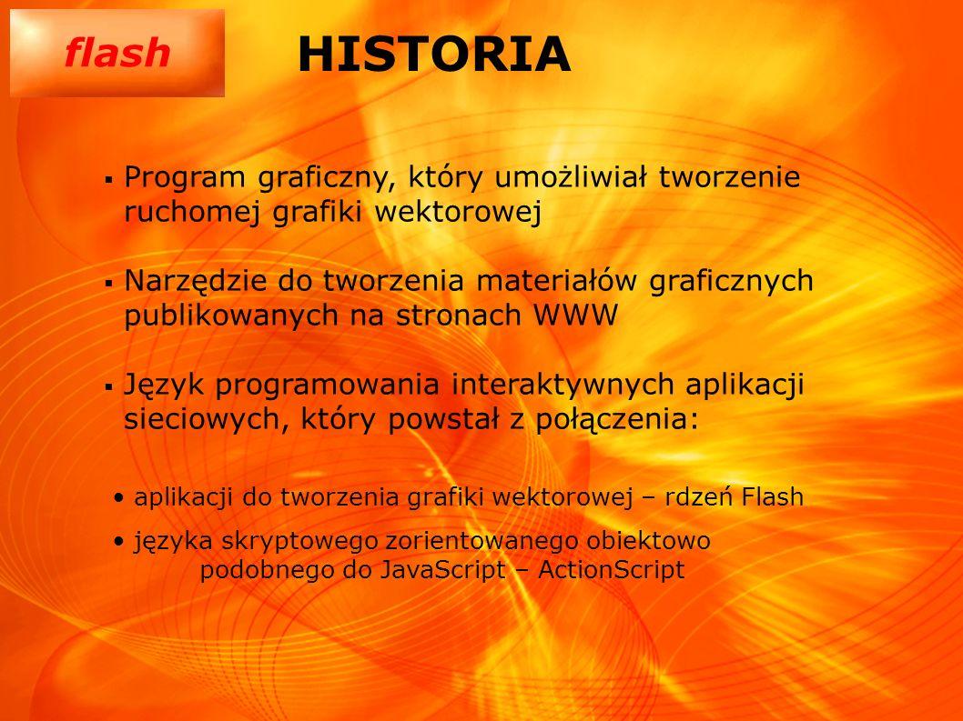 HISTORIA Program graficzny, który umożliwiał tworzenie ruchomej grafiki wektorowej.