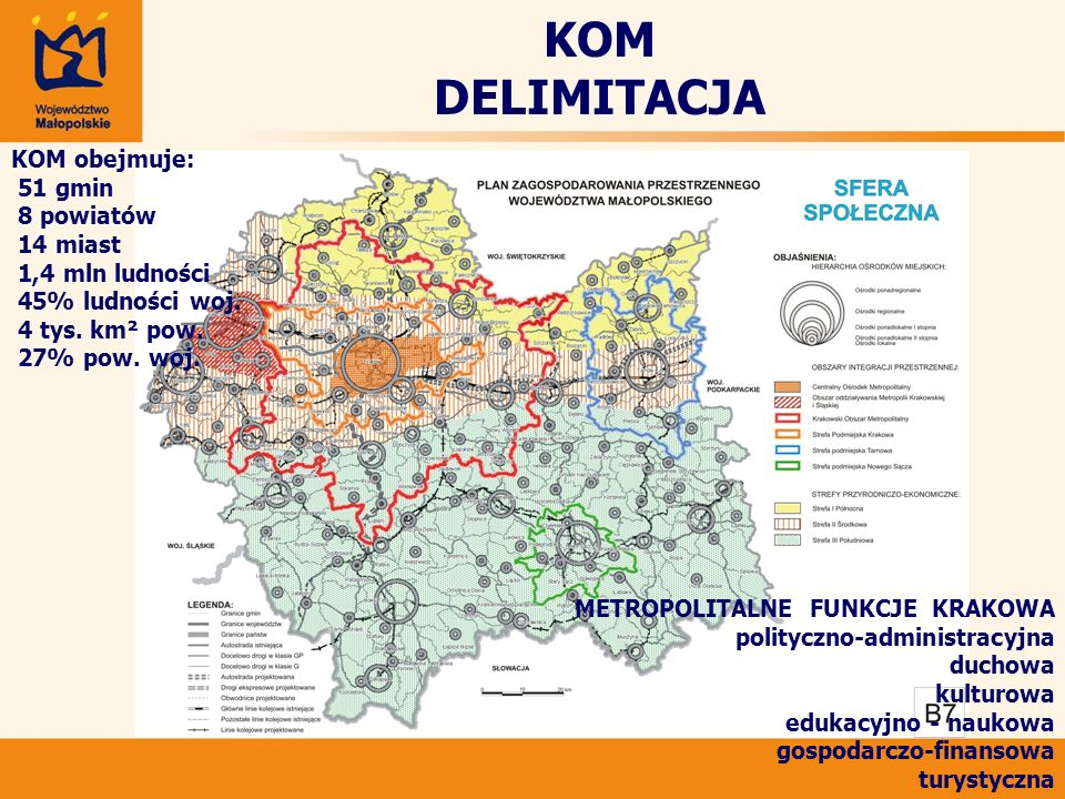KOM DELIMITACJA KOM obejmuje: 51 gmin 8 powiatów 14 miast