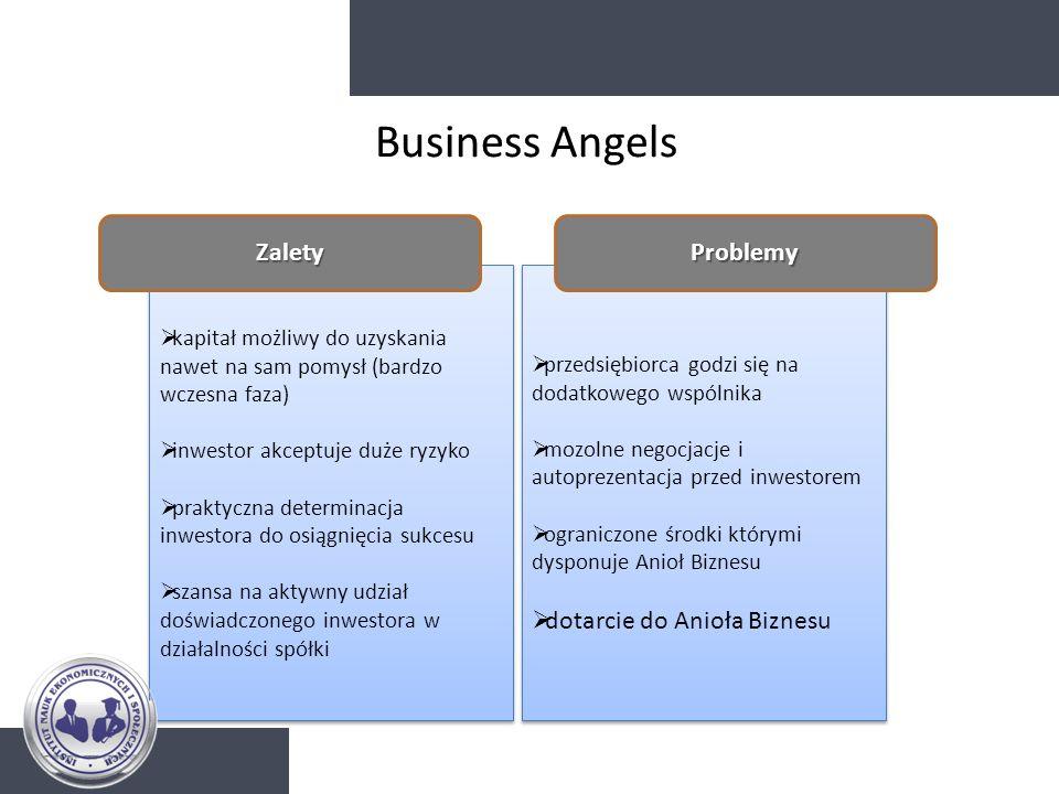 Business Angels Zalety Problemy dotarcie do Anioła Biznesu