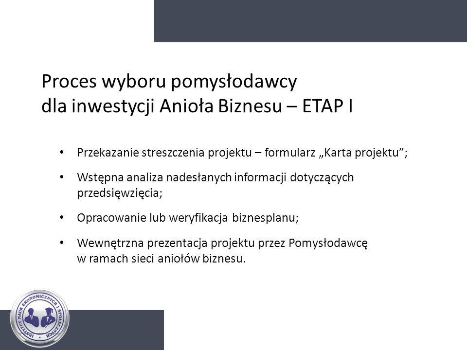 Proces wyboru pomysłodawcy dla inwestycji Anioła Biznesu – ETAP I