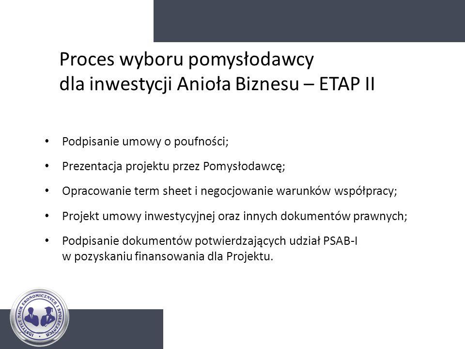 Proces wyboru pomysłodawcy dla inwestycji Anioła Biznesu – ETAP II