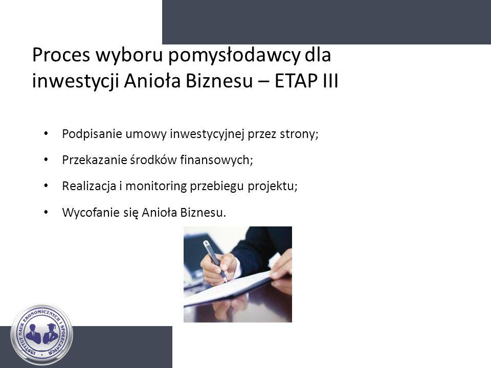Proces wyboru pomysłodawcy dla inwestycji Anioła Biznesu – ETAP III
