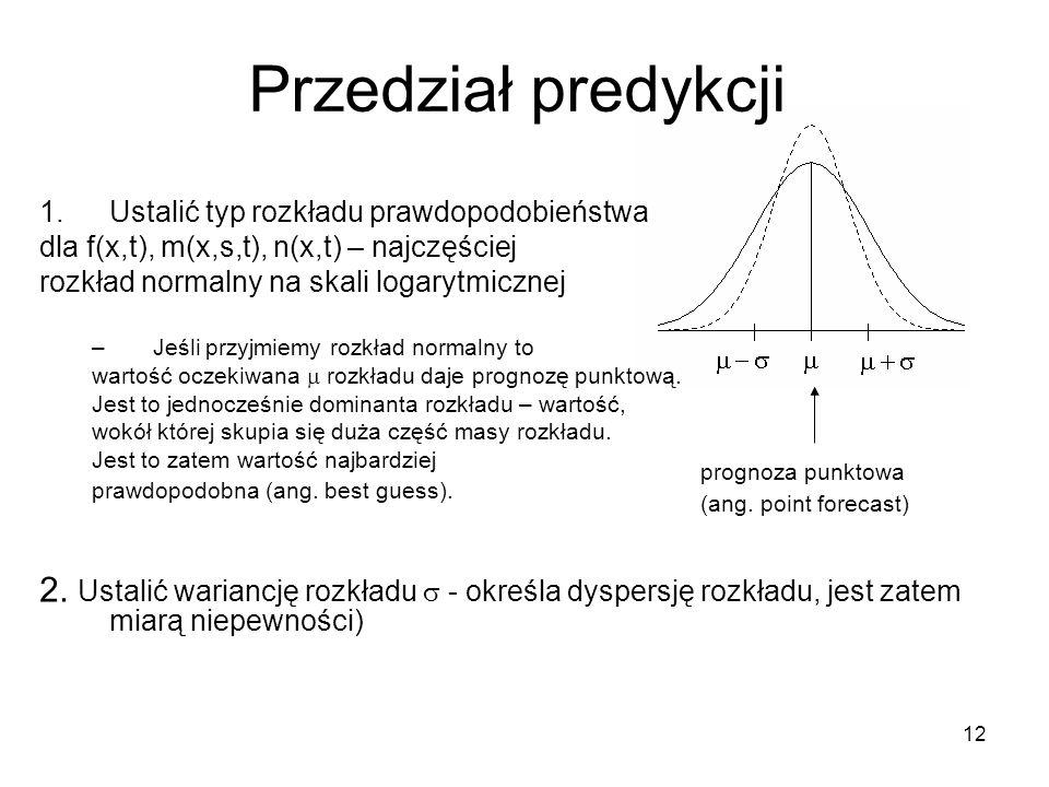 Przedział predykcji Ustalić typ rozkładu prawdopodobieństwa. dla f(x,t), m(x,s,t), n(x,t) – najczęściej.