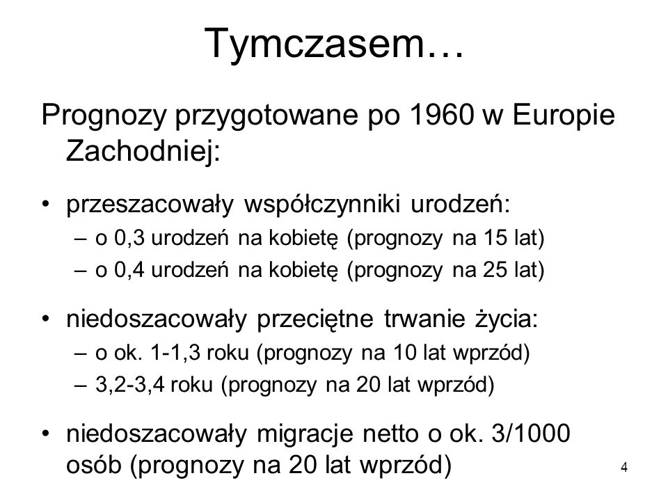 Tymczasem… Prognozy przygotowane po 1960 w Europie Zachodniej: