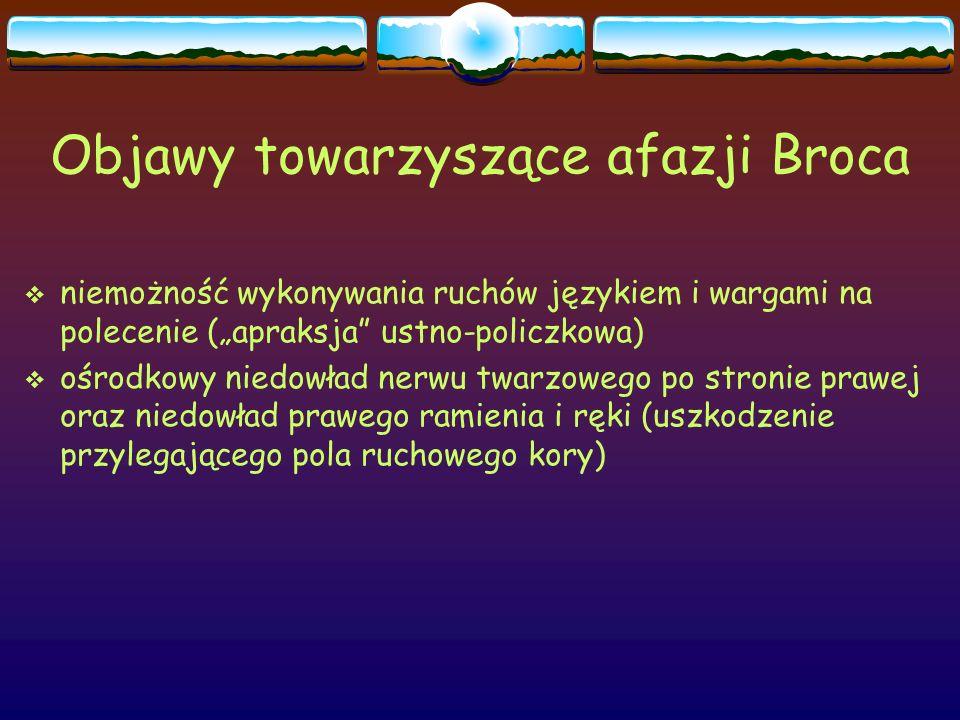 Objawy towarzyszące afazji Broca
