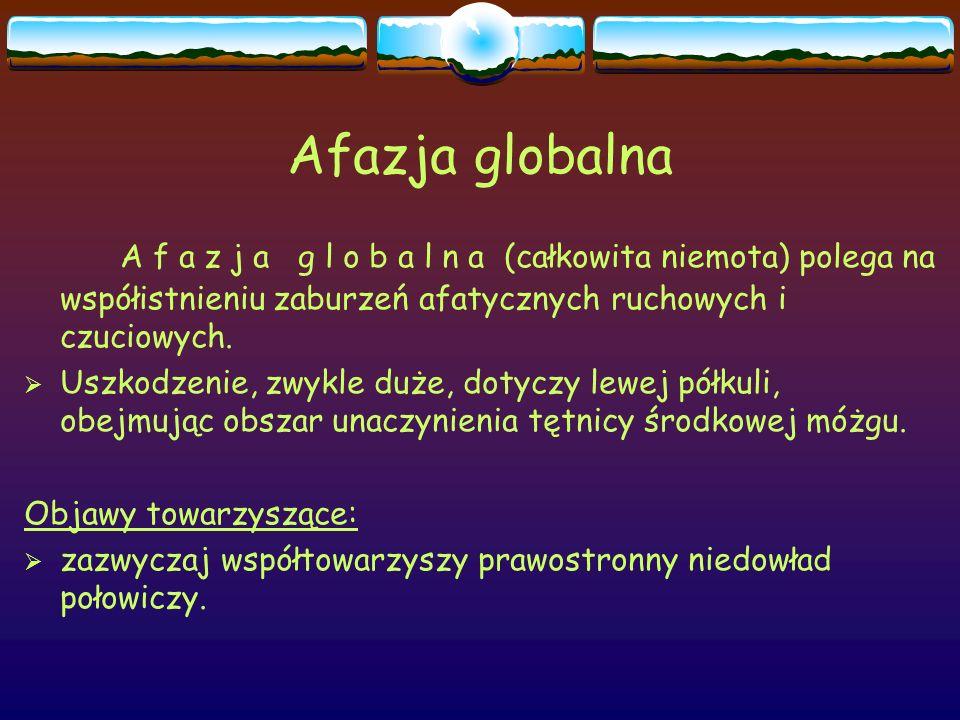 Afazja globalna A f a z j a g l o b a l n a (całkowita niemota) polega na współistnieniu zaburzeń afatycznych ruchowych i czuciowych.
