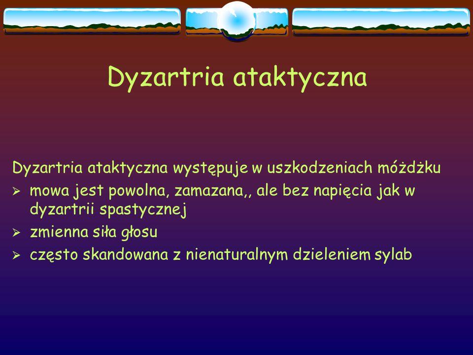 Dyzartria ataktyczna Dyzartria ataktyczna występuje w uszkodzeniach móżdżku.