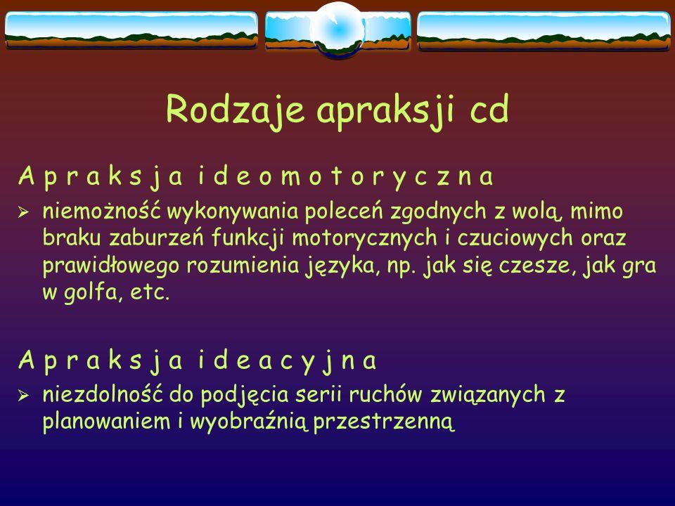 Rodzaje apraksji cd A p r a k s j a i d e o m o t o r y c z n a