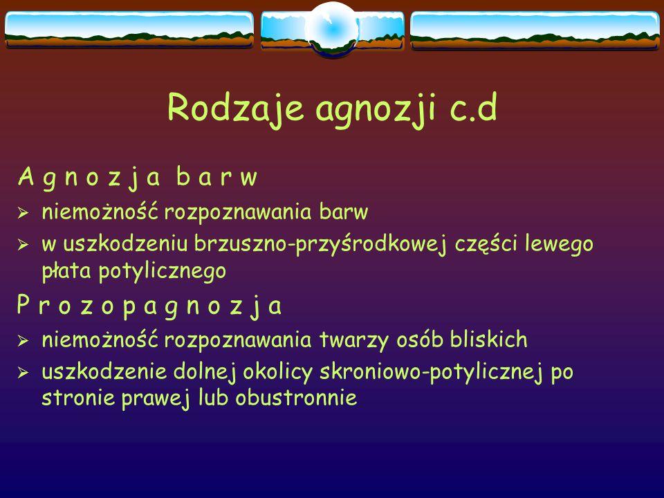 Rodzaje agnozji c.d A g n o z j a b a r w P r o z o p a g n o z j a