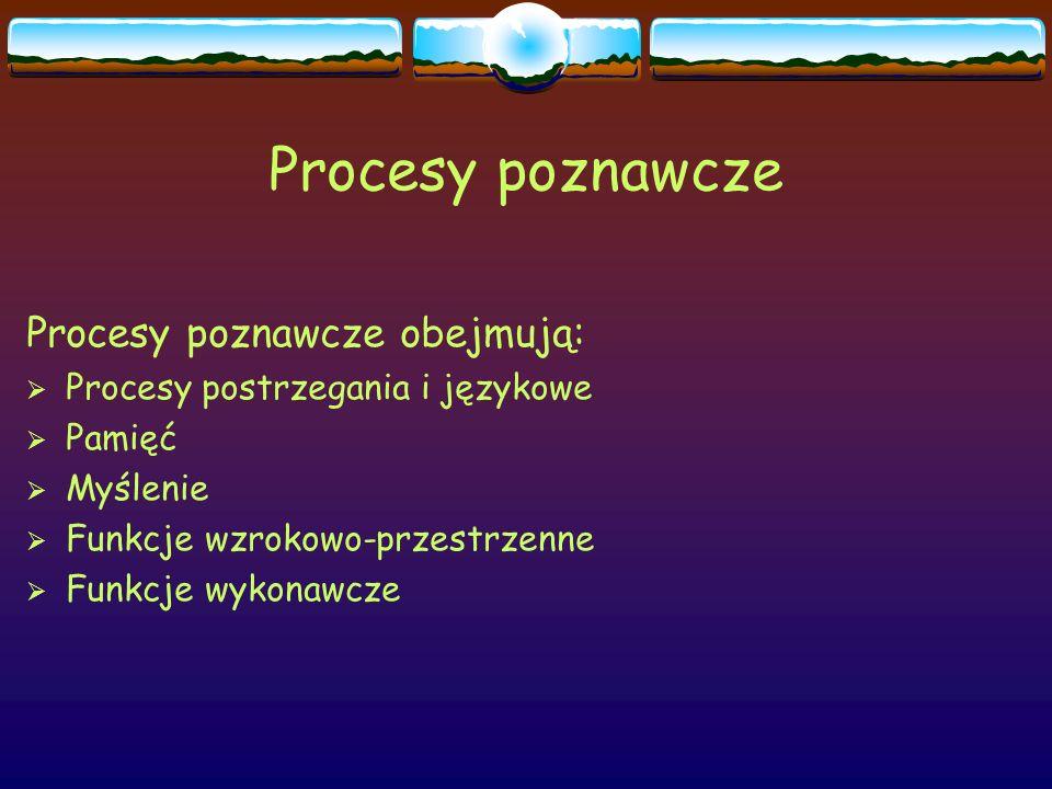Procesy poznawcze Procesy poznawcze obejmują: