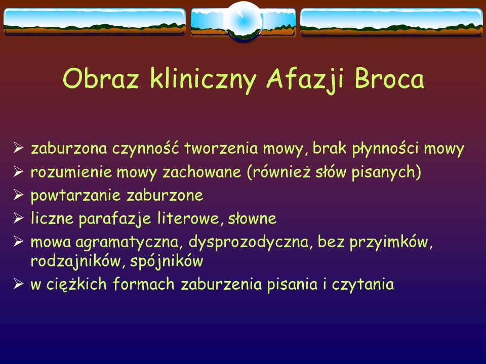 Obraz kliniczny Afazji Broca