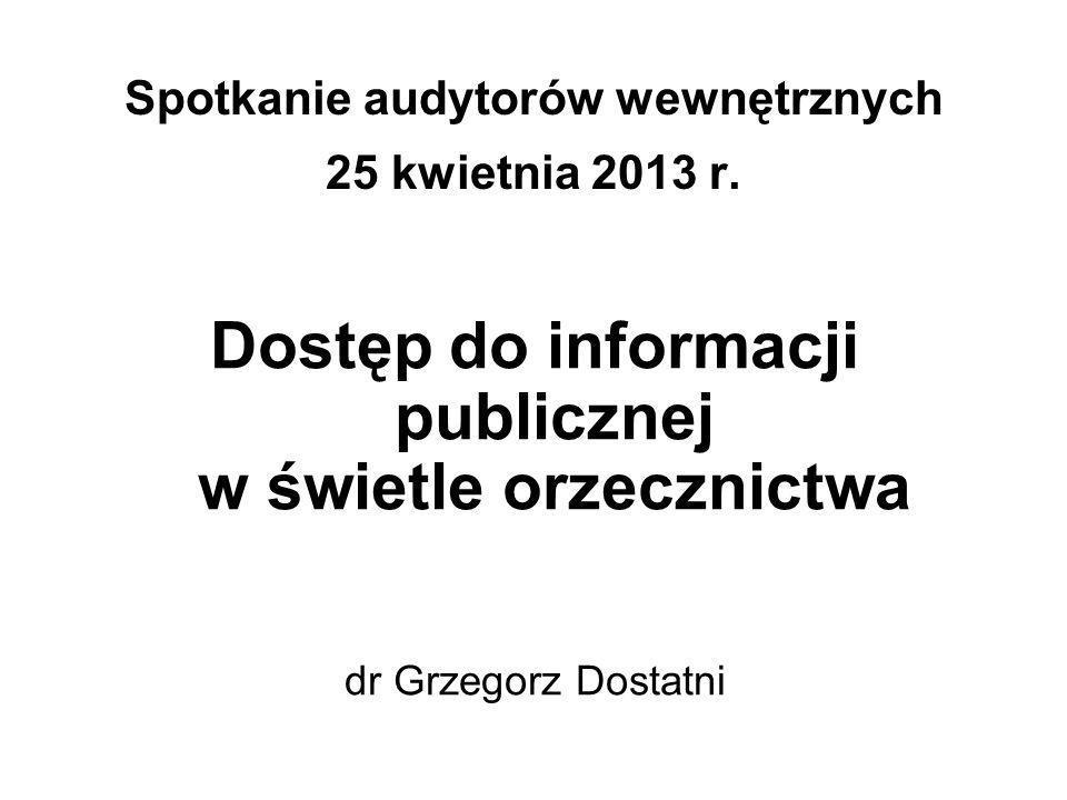 Spotkanie audytorów wewnętrznych 25 kwietnia 2013 r.