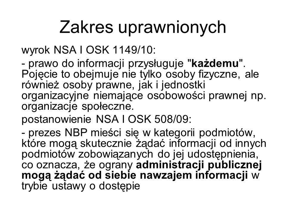 Zakres uprawnionych wyrok NSA I OSK 1149/10:
