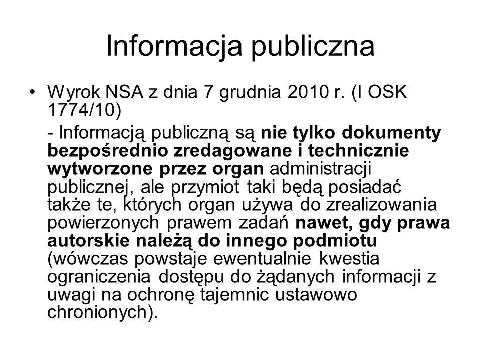 Informacja publiczna Wyrok NSA z dnia 7 grudnia 2010 r. (I OSK 1774/10)