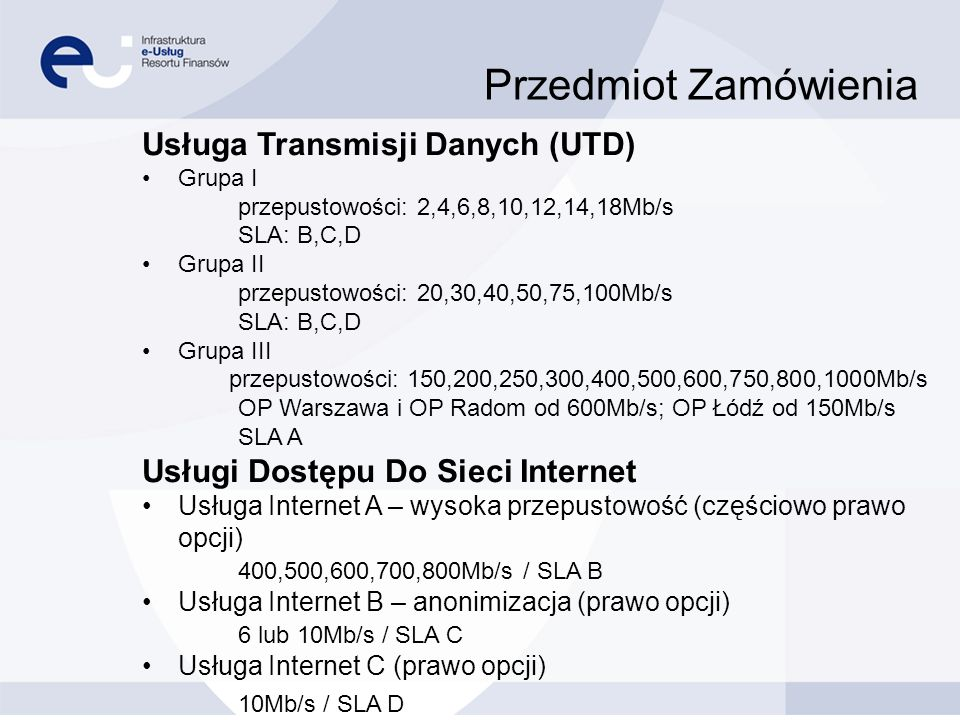 Przedmiot Zamówienia Usługa Transmisji Danych (UTD)