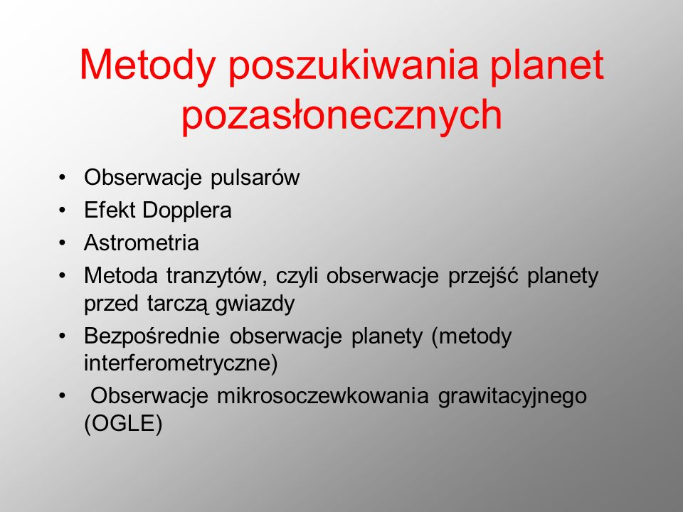Metody poszukiwania planet pozasłonecznych