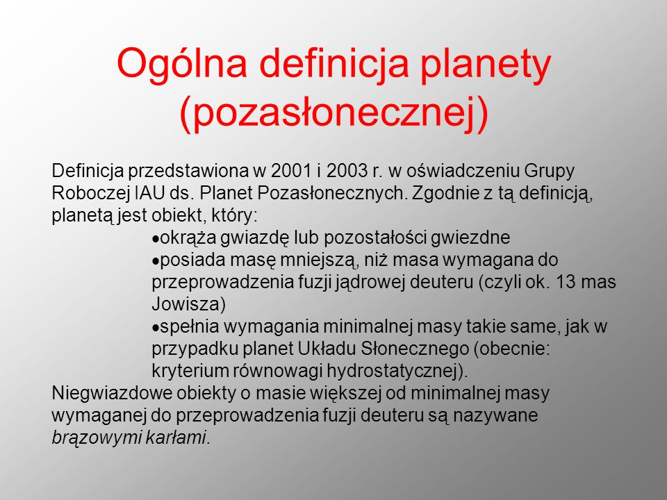 Ogólna definicja planety (pozasłonecznej)
