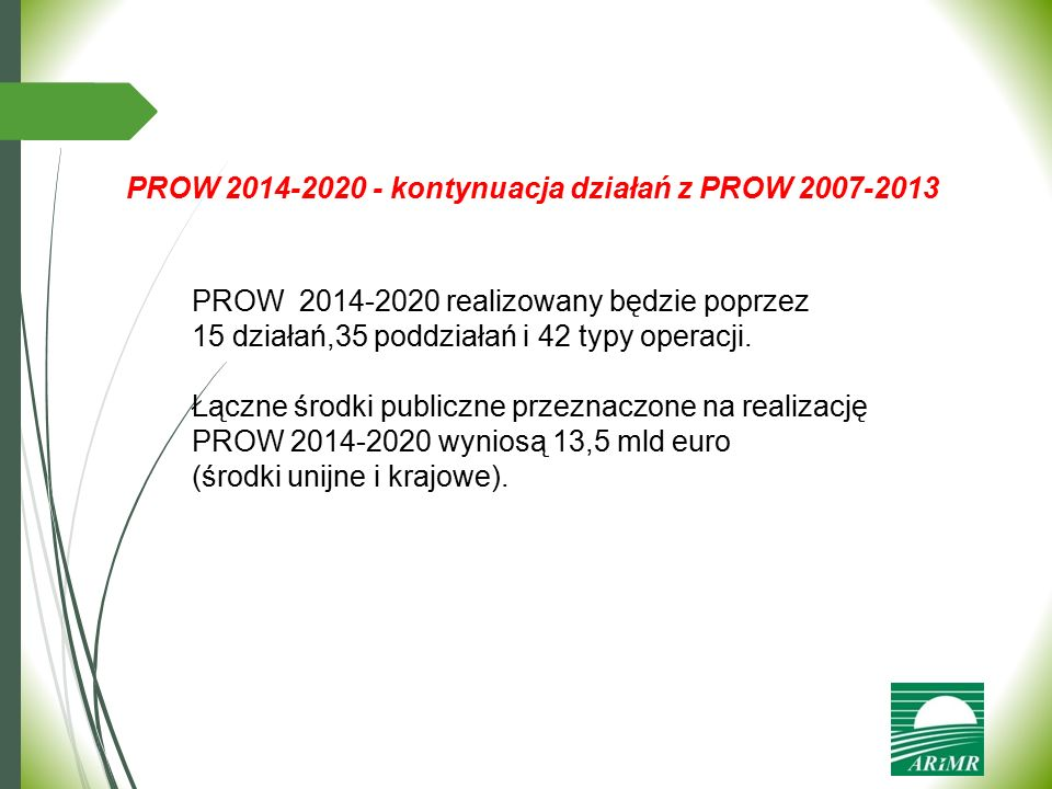 PROW 2014-2020 - kontynuacja działań z PROW 2007-2013
