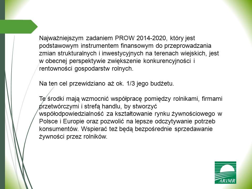 Najważniejszym zadaniem PROW 2014-2020, który jest podstawowym instrumentem finansowym do przeprowadzania zmian strukturalnych i inwestycyjnych na terenach wiejskich, jest w obecnej perspektywie zwiększenie konkurencyjności i rentowności gospodarstw rolnych.