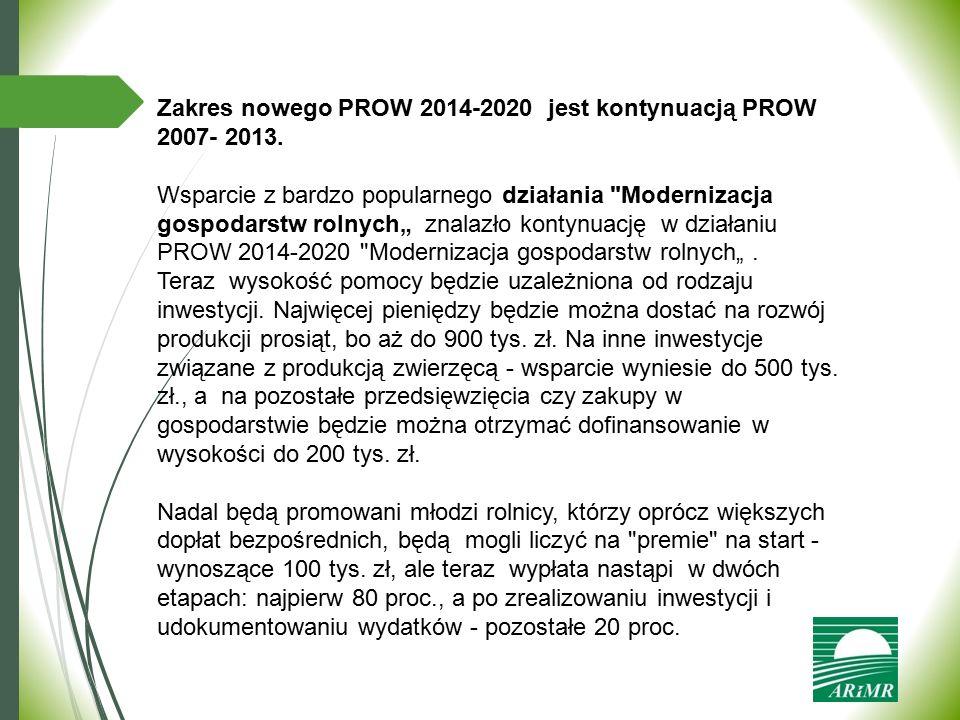 Zakres nowego PROW 2014-2020 jest kontynuacją PROW 2007- 2013.