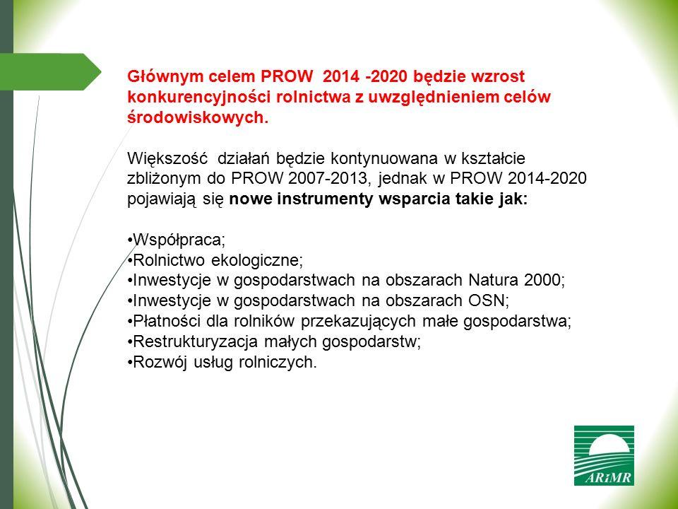 Głównym celem PROW 2014 -2020 będzie wzrost