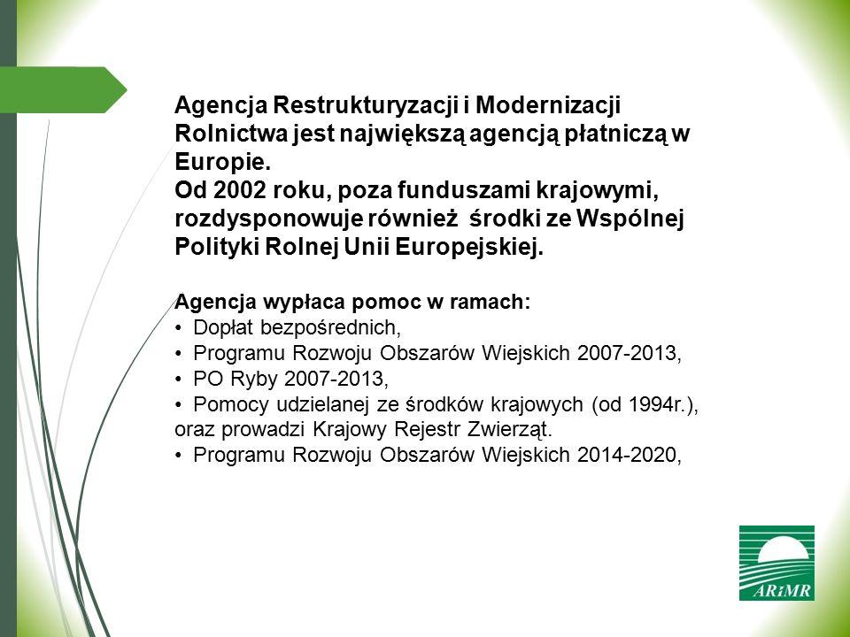 Agencja Restrukturyzacji i Modernizacji Rolnictwa jest największą agencją płatniczą w Europie.