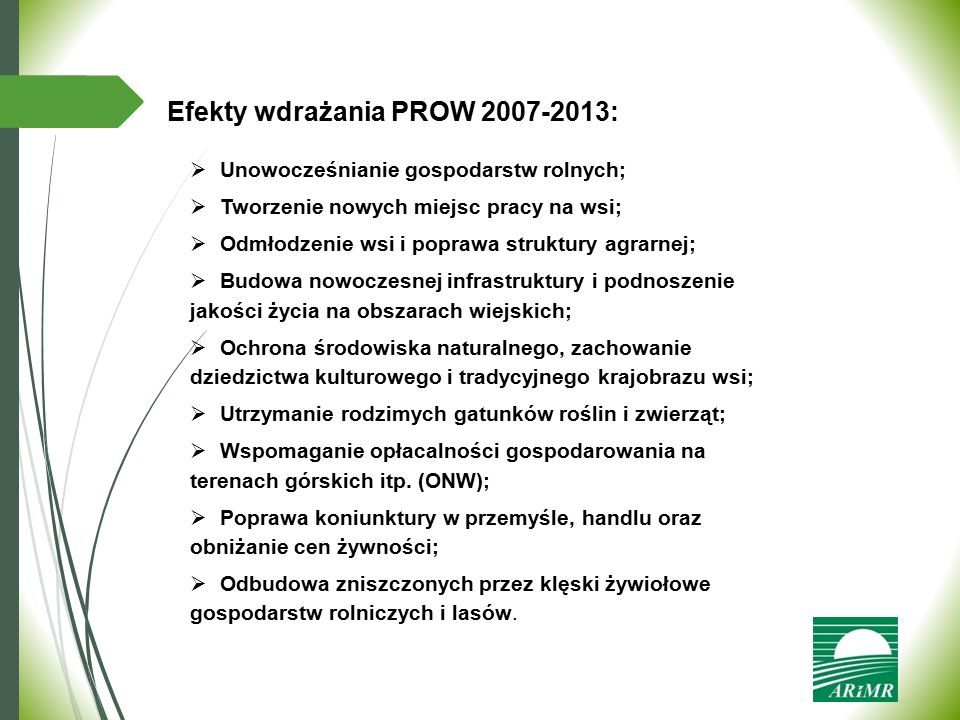 Efekty wdrażania PROW 2007-2013: