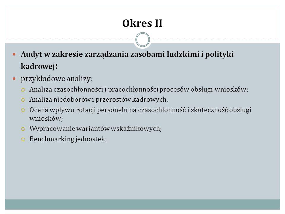 Okres II Audyt w zakresie zarządzania zasobami ludzkimi i polityki kadrowej: przykładowe analizy: