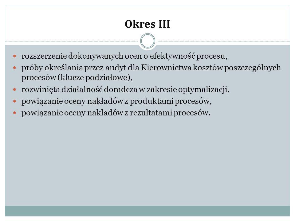 Okres III rozszerzenie dokonywanych ocen o efektywność procesu,
