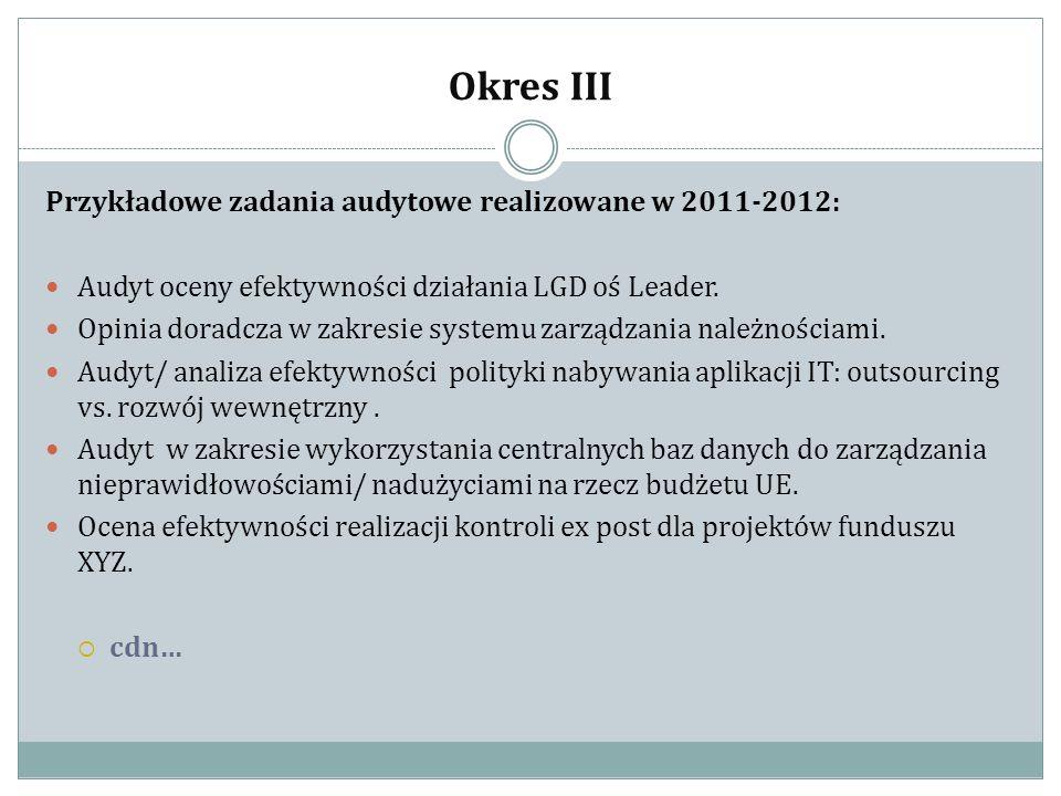 Okres III Przykładowe zadania audytowe realizowane w 2011-2012: