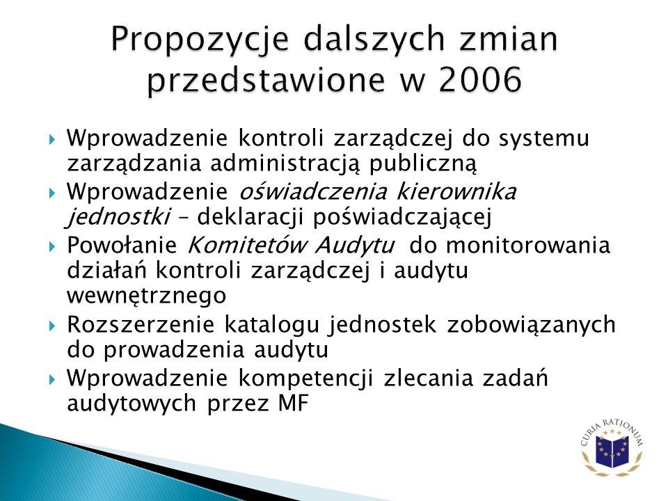 Propozycje dalszych zmian przedstawione w 2006