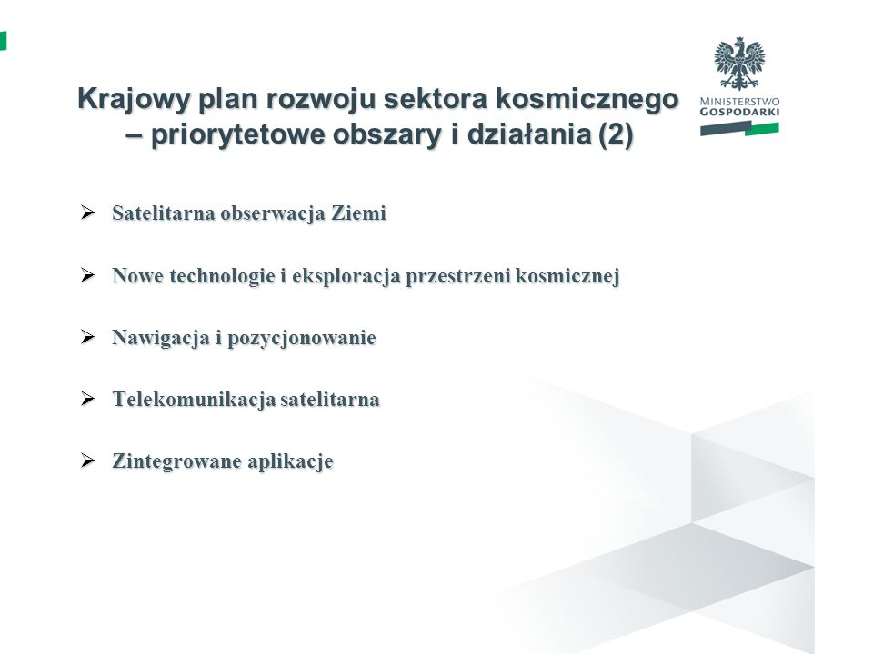 Krajowy plan rozwoju sektora kosmicznego – priorytetowe obszary i działania (2)