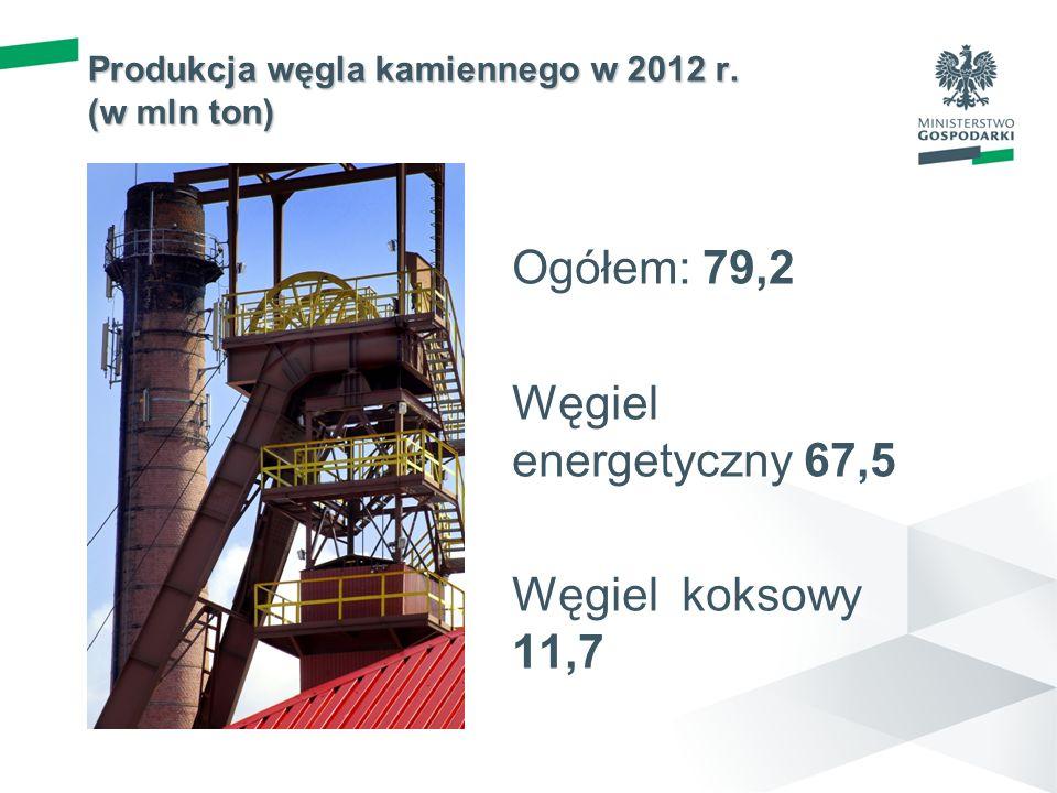 Produkcja węgla kamiennego w 2012 r. (w mln ton)