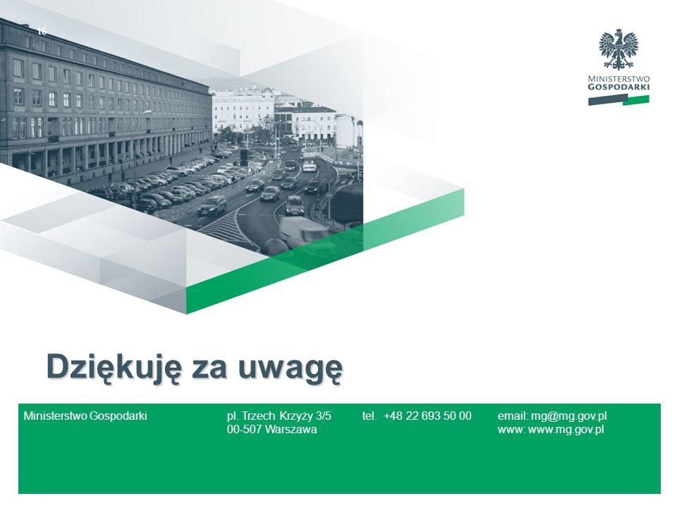 Dziękuję za uwagę Ministerstwo Gospodarki pl. Trzech Krzyży 3/5 tel.