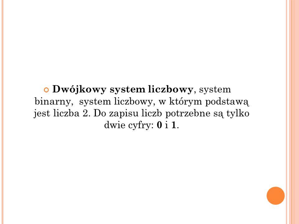 Dwójkowy system liczbowy, system binarny, system liczbowy, w którym podstawą jest liczba 2.