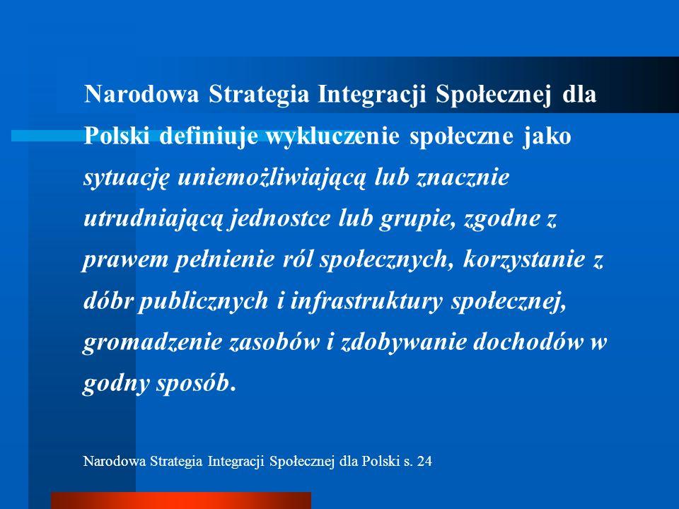 Narodowa Strategia Integracji Społecznej dla Polski definiuje wykluczenie społeczne jako sytuację uniemożliwiającą lub znacznie utrudniającą jednostce lub grupie, zgodne z prawem pełnienie ról społecznych, korzystanie z dóbr publicznych i infrastruktury społecznej, gromadzenie zasobów i zdobywanie dochodów w godny sposób.
