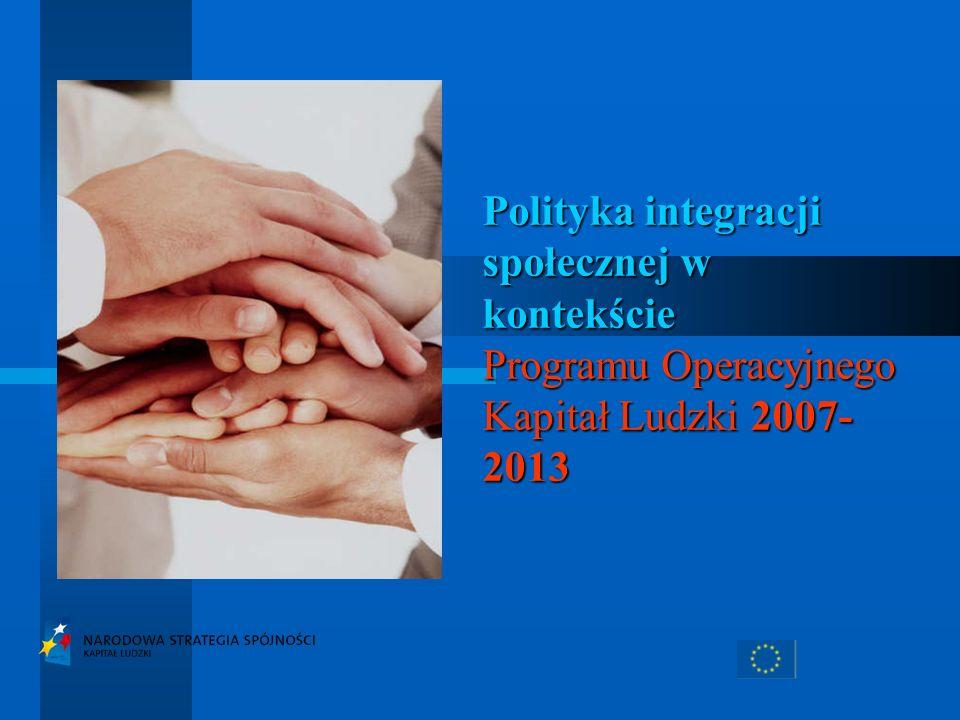 Polityka integracji społecznej w kontekście Programu Operacyjnego Kapitał Ludzki 2007-2013