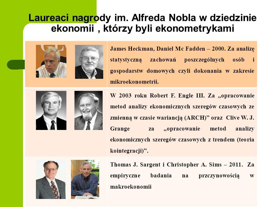 Laureaci nagrody im. Alfreda Nobla w dziedzinie ekonomii , którzy byli ekonometrykami
