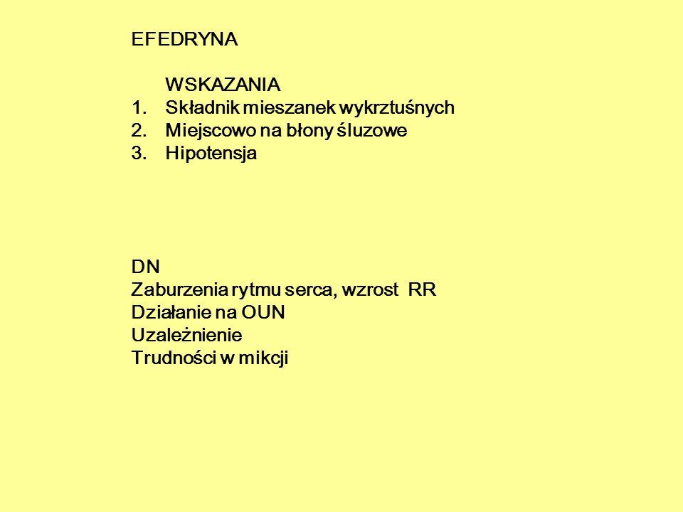 EFEDRYNA WSKAZANIA Składnik mieszanek wykrztuśnych. Miejscowo na błony śluzowe. Hipotensja. DN.