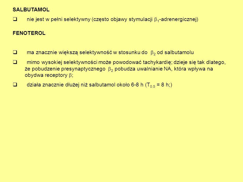 q ma znacznie większą selektywność w stosunku do 2 od salbutamolu