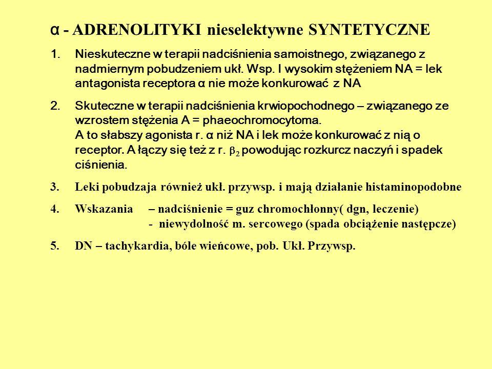 α - ADRENOLITYKI nieselektywne SYNTETYCZNE