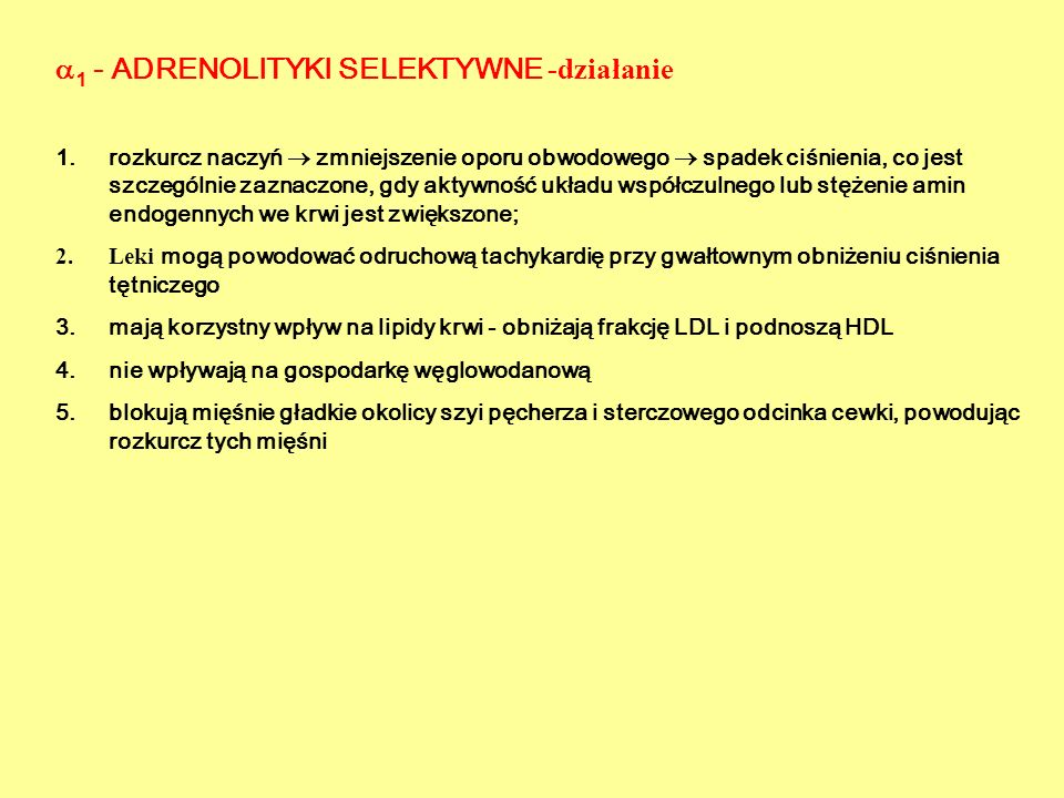 1 - ADRENOLITYKI SELEKTYWNE -działanie