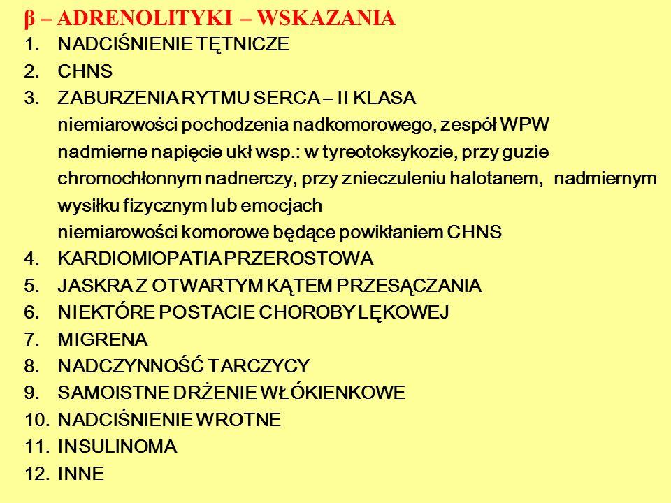 β – ADRENOLITYKI – WSKAZANIA
