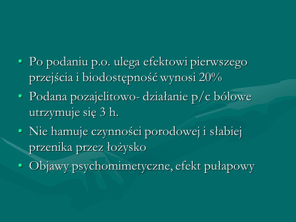 Po podaniu p.o. ulega efektowi pierwszego przejścia i biodostępność wynosi 20%